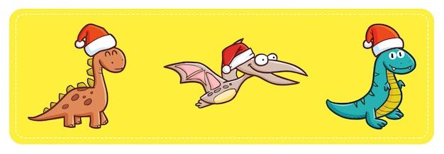 Śliczne i zabawne kawaii prehistoryczne dinozaury w czapce świętego mikołaja na boże narodzenie