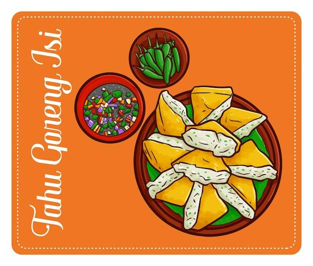 """Śliczne i zabawne pyszne """"tahu isi"""", tradycyjnie smażone dania z tofu z dżakarty w indonezji."""