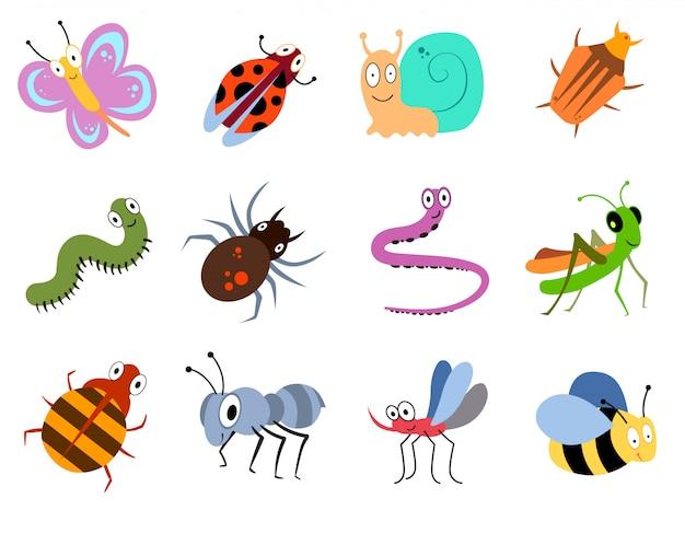 Śliczne i zabawne robaki, kolekcja wektor owadów