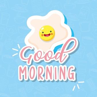 Śliczne i zabawne uśmiechnięte jajko sadzone