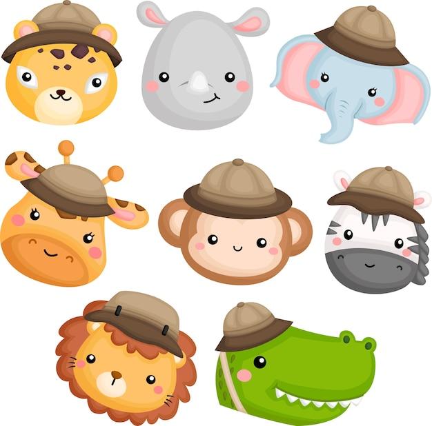 Śliczne ikony zwierząt z kostiumem safari
