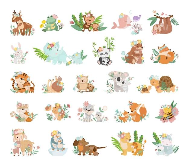 Śliczne ilustracje kreskówkowe zwierząt z ich dziećmi