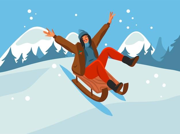 Śliczne ilustracje xmas szczęśliwa kobieta na sankach na białym tle na zimowy krajobraz