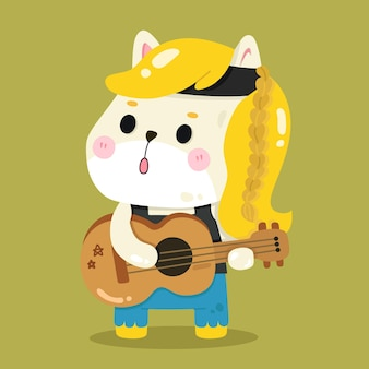 Śliczne ilustracje zwierząt kreskówki horse rocker musician