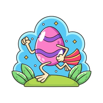 Śliczne jajko z liśćmi. ilustracja kreskówka na białym tle