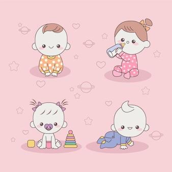 Śliczne japońskie dzieci kawaii
