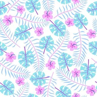 Śliczne jasne tropikalne liście wektor ręcznie rysowane wzór