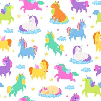 Śliczne jednorożce, bezszwowy patern, magiczny świat fantasy, ładne bajkowe zwierzęta, przemysł tekstylny, ilustracja kreskówka.