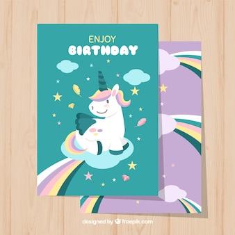 Śliczne jednorożec karty urodzinowe