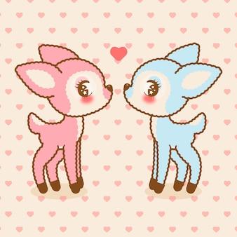 Śliczne jelenie kawaii zakochane w wzór