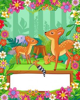 Śliczne jelenie z kwiatami i pusty znak drewna w lesie. wektor