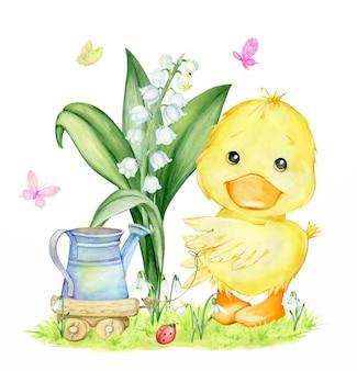 Śliczne kaczątko, konewka, konwalia, przebiśniegi, trawa, drewniany wózek i motyle. akwarela clipart na temat wiosny.