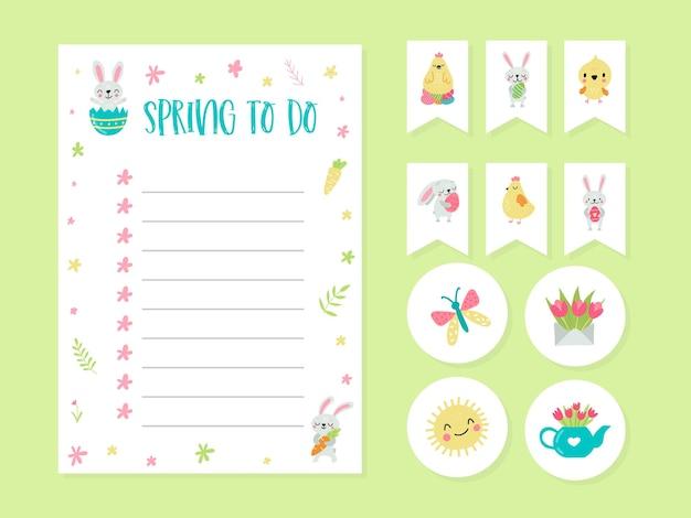 Śliczne kartki, notatki, naklejki, etykiety, tagi dla edukacji i notatki z ilustracjami wiosny. szablon do scrapbookingu, zawijania, gratulacje, zaproszenia.