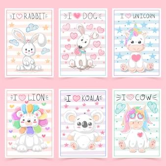 Śliczne kartki z życzeniami dla dzieci ze zwierzętami