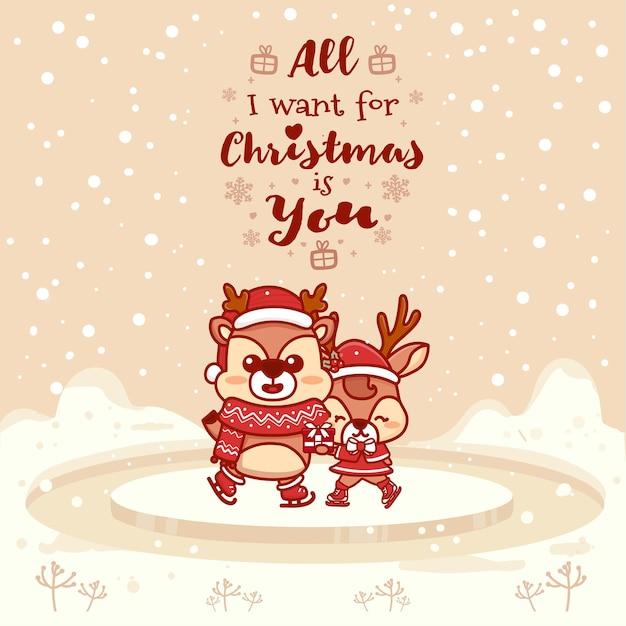 Śliczne kartki z życzeniami para niedźwiedź polarny. wszystko czego chcę na święta to ty. ilustracja wektorowa ręcznie rysowane.