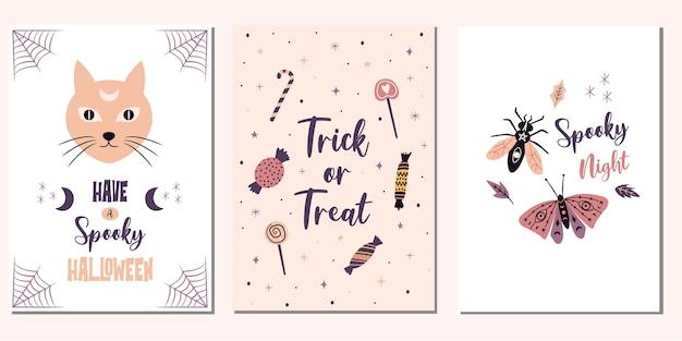 """Śliczne karty halloween. upiorne ilustracje """"cukierek albo psikus""""."""