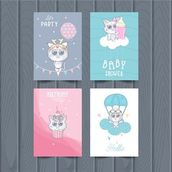 Śliczne karty zwierząt dla dzieci