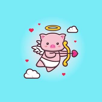Śliczne kawaii amorek świnia anioły doodle rysunek