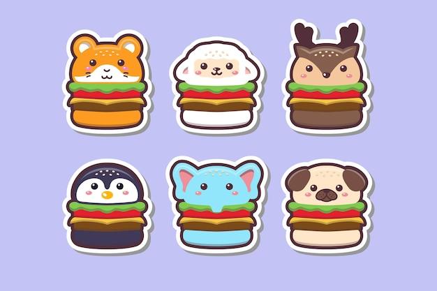 Śliczne kawaii animal burger rysunek naklejka zestaw ilustracji