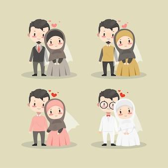 Śliczne kawaii chibi para muzułmańskich postaci ślubnych