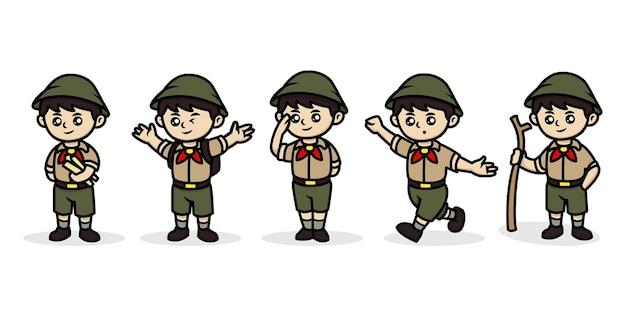 Śliczne kawaii chłopiec harcerz dla dzieci maskotka ilustracja projekt logo