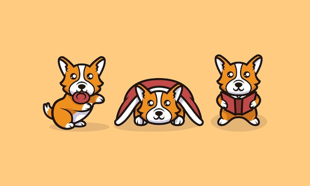 Śliczne kawaii corgi pies maskotka projekt ilustracji wektor zestaw szablonu
