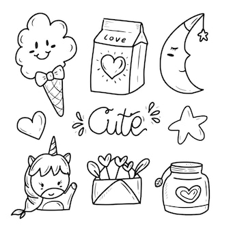 Śliczne kawaii doodle naklejki rysunek kolekcja ikona