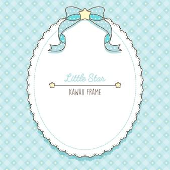 Śliczne kawaii jasnoniebieskie gwiazdki i ramka na koronki