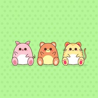 Śliczne kawaii projektowanie postaci zwierzęcych
