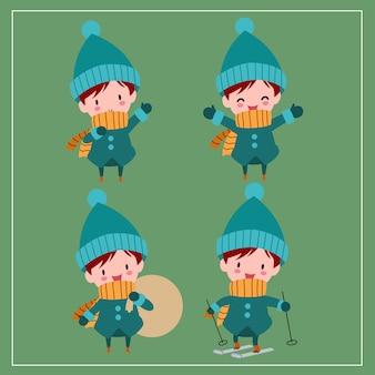 Śliczne kawaii ręcznie rysowane chłopców w strojach zimowych z uśmiechniętą i zabawną twarzą w różnych pozach