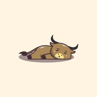 Śliczne kawaii ręcznie rysowane doddle leniwy i znudzony byk maskotka