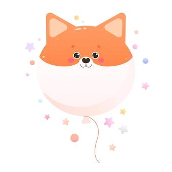 Śliczne kawaii shiba, fox. zwierzę na białym tle