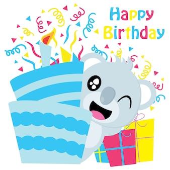 Śliczne koala poza urodzinami ciasta cartoon wektora, urodziny pocztówki, tapety i karty okolicznościowe, koszulki dla dzieci