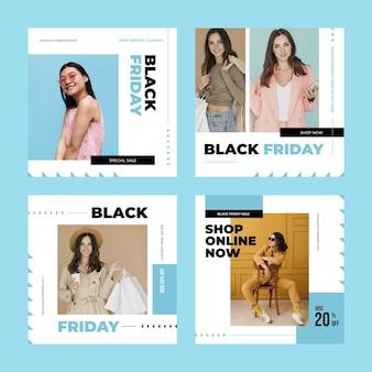 Śliczne kobiety czarny piątek płaski projekt instagram post
