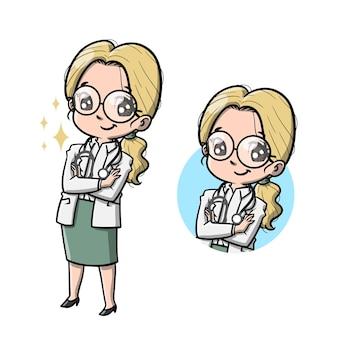 Śliczne kobiety lekarz postać z kreskówki