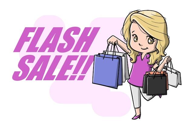 Śliczne kobiety na zakupy na wyprzedaży flash cartoon