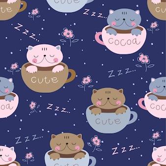 Śliczne kocięta śpią słodko w kubkach