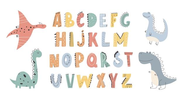 Śliczne kolekcja dinozaurów i alfabet w stylu kreskówki element projektu