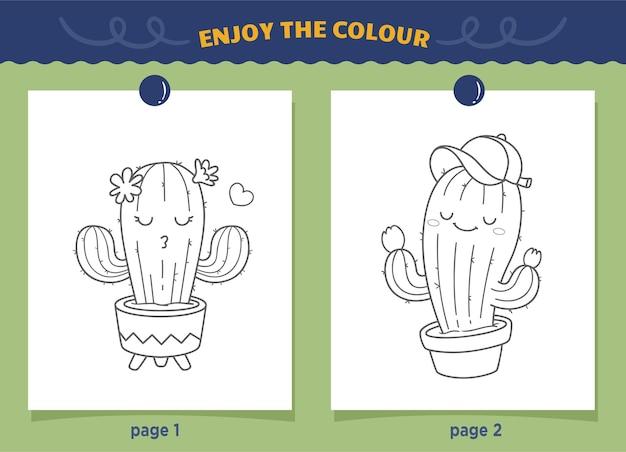 Śliczne Kolorowanki Kaktusów Dla Dzieci Premium Wektorów