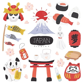 Śliczne kolorowe japońskie doodle illustration