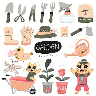 Śliczne kolorowe w skandynawskim stylu doodle ogrodnicze z uroczą ilustracją kota