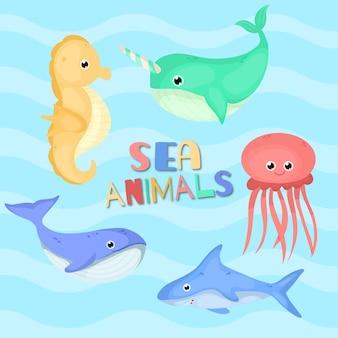 Śliczne kolorowe zwierzęta fsea płaski zestaw ilustracji