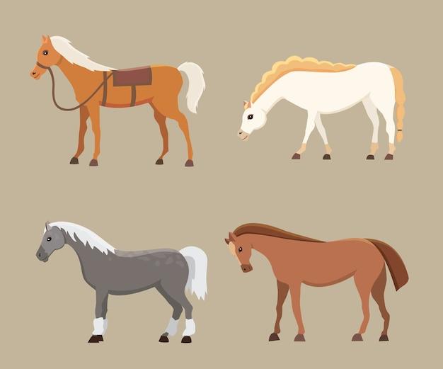 Śliczne konie w różnych pozach. kreskówka dzikich koni na białym tle gospodarstwa i inna sylwetka kucyka
