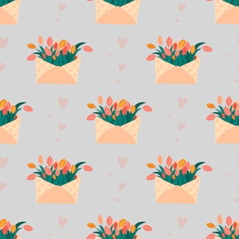 Śliczne koperty bez szwu z kwiatami tulipanami i sercami