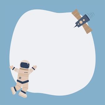 Śliczne kosmiczne ramki zmaza w prostym stylu kreskówki rysowane ręcznie. szablon dla tekstu lub zdjęcia. idealny na kartki, zaproszenia, imprezę, przedszkole, przedszkole i dzieci