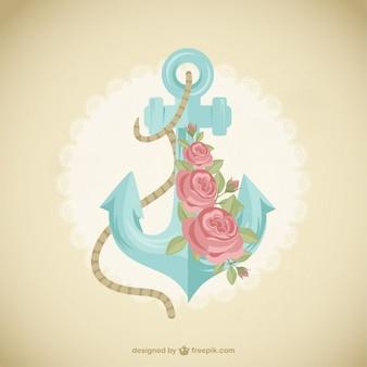 Śliczne kotwica z kwiatami