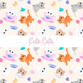 Śliczne koty akwarela bezszwowe wzór