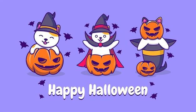 Śliczne koty czarownic i kolekcja dyni halloween
