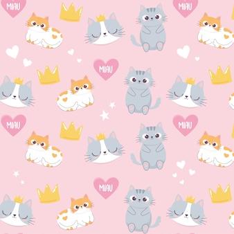 Śliczne koty głowy korona miłość serce kreskówka zwierząt zabawny charakter tło