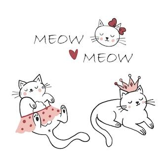 Śliczne koty księżniczka dzieci ilustracja dziecinna kreskówka miłość
